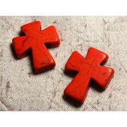 2pc - Perles Turquoise synthèse Croix 35x30mm Orange 4558550011787