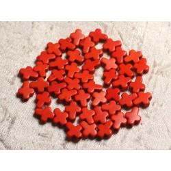 20pc - Perles Turquoise synthèse Croix 10x8mm Orange 4558550011831