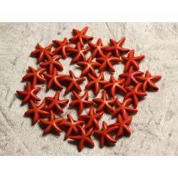20pc - Perles Turquoise synthèse Etoiles de Mer 14x6mm Orange 4558550011916