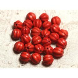 20pc - Perles Turquoise synthèse Boules Fleurs 9-10mm Orange 4558550011992