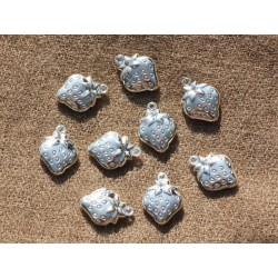 10pc - Breloques Pendentifs Métal Argenté Fraises 15mm 4558550012128