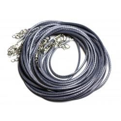 10pc - Colliers Tours de cou Coton Ciré 2mm Gris - 4558550012265