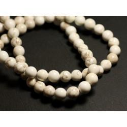 4pc - Perles de Pierre - Magnésite Boules 14mm Blanc Crème Ivoire 4558550000583