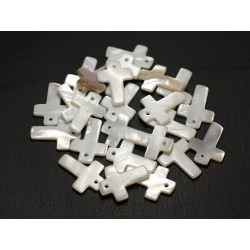 4pc - Perles Breloques Pendentifs Nacre Blanche Croix 22mm 4558550013422