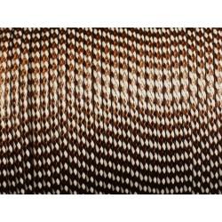 5 mètres - Cordon Coton Ciré 2mm Blanc et Chocolat 4558550012609