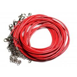 10pc - Colliers Tours de cou Coton Ciré 2mm Rouge - 4558550012746