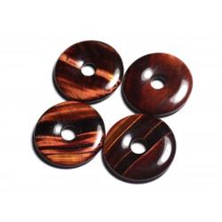 Pendentif Pierre semi précieuse - Oeil de Taureau Donut Pi 30mm 4558550012753