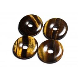 Pendentif Pierre semi précieuse - Oeil de Tigre Donut Pi 30mm - 4558550012760