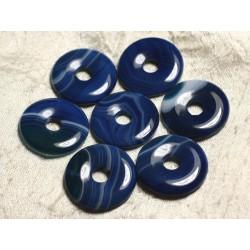 1pc - Pendentif Pierre semi précieuse - Agate Bleue Donut 30mm 4558550012869