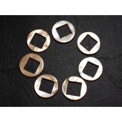 2pc - Perles Composants Connecteurs Nacre Cercles et Losanges 19mm Ecru 4558550012890