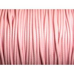 5 mètres - Cordon Coton Ciré 2mm Rose clair 4558550013033