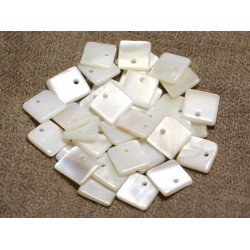 10pc - Perles Breloques Pendentifs Nacre Blanche Carrés 11mm 4558550013057