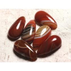 1pc - Pendentif Pierre semi précieuse - Agate Rouge Orange Goutte 40mm 4558550013293