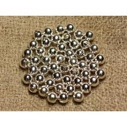 50pc - Perles Métal Argenté Qualité Boules 4mm 4558550013323