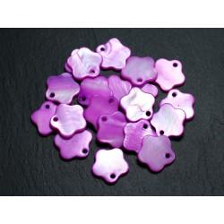 10pc - Perles Breloques Pendentifs Nacre Fleurs 15mm Violet Rose 4558550013361