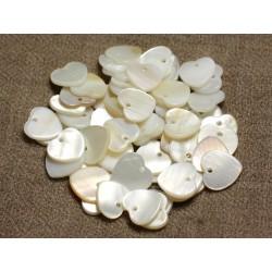 10pc - Perles Breloques Pendentifs Nacre Blanche Coeurs 12mm 4558550013439
