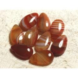 1pc - Pendentif Pierre semi précieuse - Agate Rouge Orange Goutte 25mm 4558550013569