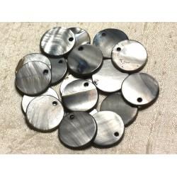 10pc - Perles Breloques Pendentifs Nacre Ronds 20mm Gris Noir 4558550013590