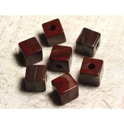 1pc - Pendentif Pierre semi précieuse - Jaspe Rouge Bréchique Cube 15mm 4558550013668