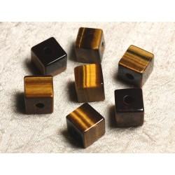 1pc - Pendentif Pierre semi précieuse - Oeil de Tigre Cube 15mm 4558550013675