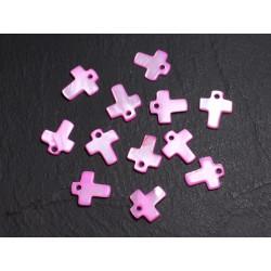 10pc - Perles Breloques Pendentifs Nacre Croix 12mm Rose 4558550014337