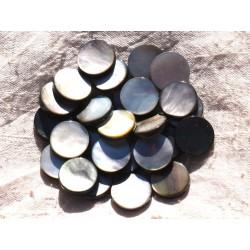2pc - Perles Nacre noire naturelle - Palets 15mm 4558550014351