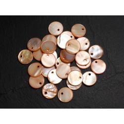 10pc - Perles Breloques Pendentifs Nacre Ronds Palets 11mm Orange 4558550014412