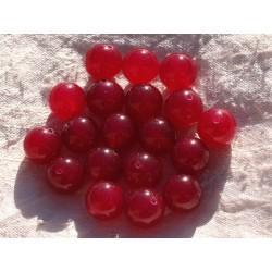 8pc - Perles de Pierre - Jade Boules 12mm Rouge Rose Framboise 4558550014429