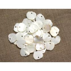10pc - Perles Breloques Pendentifs Nacre Blanche Pommes 12mm 4558550014467