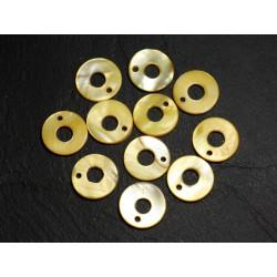 10pc - Perles Breloques Pendentifs Nacre Cercles 15mm Jaune 4558550014504
