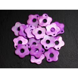 10pc - Perles Breloques Pendentifs Nacre Fleurs 19mm Violet Rose 4558550014658
