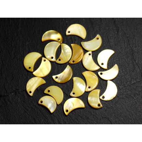 10pc - Perles Breloques Pendentifs Nacre Lune 13mm Jaune 4558550014740