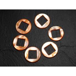 2pc - Perles Composants Connecteurs Nacre Cercles et Losanges 19mm Orange 4558550014801