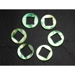 2pc - Perles Composants Connecteurs Nacre Cercles et Losanges 19mm Vert 4558550014849