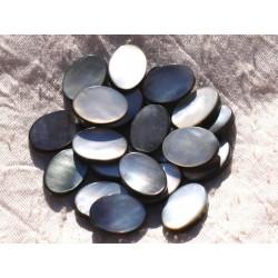 2pc - Perles Nacre noire naturelle - Ovales 18x12mm 4558550014870