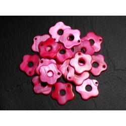 10pc - Perles Breloques Pendentifs Nacre Fleurs 19mm Rouge Rose 4558550014887
