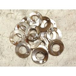 10pc - Perles Breloques Pendentifs Nacre Cercles 25mm Ecru 4558550014955