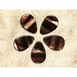 4pc - Perles de Nacre Gouttes 30x20mm Marron Zébré 4558550031914