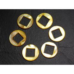 2pc - Perles Composants Connecteurs Nacre Cercles et Losanges 19mm Jaune 4558550015235