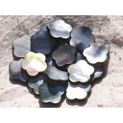 2pc - Perle Nacre noire naturelle - Fleur 18mm 4558550015327