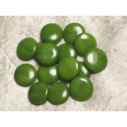 2pc - Perles de Pierre - Jade Verte Palets 18mm 4558550015426