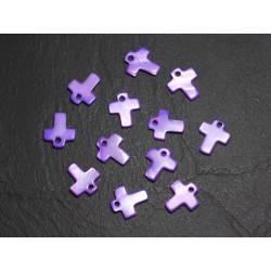 10pc - Perles Breloques Pendentifs Nacre Croix 12mm Violet 4558550015440