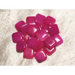 2pc - Perles de Pierre - Jade Rose Fuchsia Losanges 20mm 4558550015457