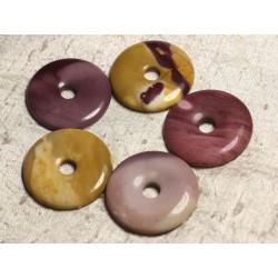 Pendentif Pierre semi précieuse - Jaspe Mokaïte Donut Pi 40mm 4558550015464