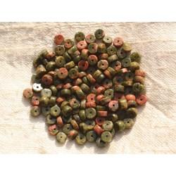 20pc - Perles de Pierre - Unakite Rondelles 4x2mm 4558550015631