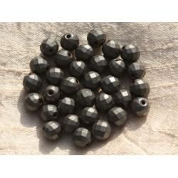 10pc - Perles de Pierre - Hématite Mate Boules Facettées 8mm 4558550015709