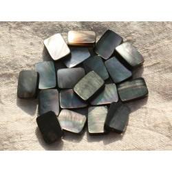 4pc - Perles Nacre noire naturelle - Rectangles 14x10mm 4558550015846