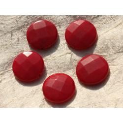 1pc - Perle de Pierre - Jade Rouge Palet Facetté 25mm 4558550015921