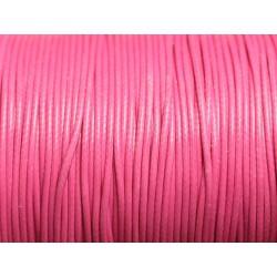 5 Mètres - Cordon de Coton Ciré 1mm Rose Bonbon - 4558550016034