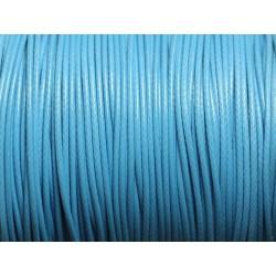 5 Mètres - Cordon de Coton Ciré 1mm Bleu Turquoise Azur - 4558550016058